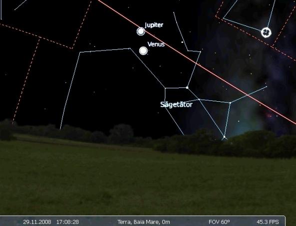 conjunctie Venus Jupiter 29.11.