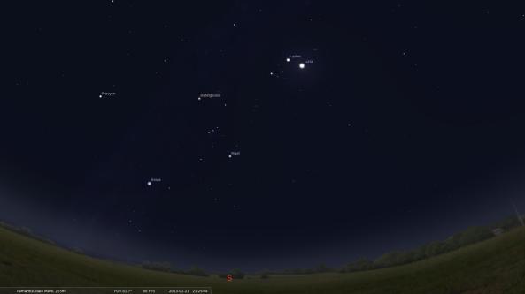 Cerul Băii Mari pe 21 ianuarie 2013 - simulare Stellarium